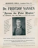 Programme for Dr Fridtjof Nansen lecture, Across the Polar Region