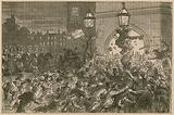 Bread riot at the entrance to the House of Commons, 1815