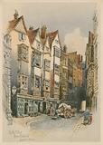 Cloth Fair, Smithfield, London, watercolour sketch
