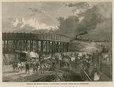 Works on the Midland Railway at King's Cross, London; temporary bridge, Old St Pancras Road