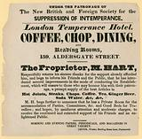 Advert for the London Temperance Hotel, under the patronage of the New British and Foreign Society …