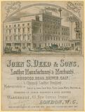 Advert for John S Deed & Sons, leather manufacturers and merchants, 451 New Oxford Street, London