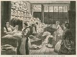 London office of the Society for the Relief of the Sick and Wounded - sorting and packing linen bandages