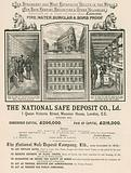 Advertisement for The National Safe Deposit Company, 1 Queen Victoria Street, Mansion House, London