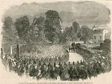 Funeral of Mr Braidwood, the late chief of the London Fire Brigade, in Abney Park Cemetery, London