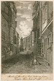 Sketch of Butcher Row, looking from Temple Bar, 9 June 1796