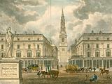 St Bride's Church, Fleet Street, London; from an advert for Z Skyring, surveyer, Primrose Street, Bishopsgate
