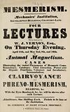Advert for lectures on Mesmerism at the Mechanics' Institute