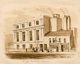 Original sepia drawing of the new White Conduit House, Pentonville, London