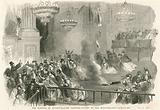 The burning of Covent Garden Theatre, London - flight of the Masqueraders