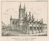 South east view of St Saviour's Church, Southwark, showing the Lady Chapel restored