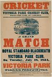 Poster advertising a cricket match at Victoria Park Cricket Club on 18 July 1854