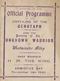 Souvenir programme of the unveiling of the Cenotaph