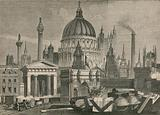The principal architectural works of Great Britain, grouped with Masonic Emblems