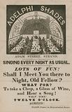 Advert for Adelphi Shades, Adam Street, Strand