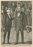 The Serjeant-at-Arms arresting Mr Bradlaugh upon the Speaker's warrant