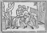 Woodcut depicing a man and a women seated on a bed