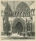 The Royal Courts of Justice: The principal entrance from the Strand