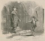Young boy leading a gentleman by torch light