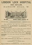 Advertisement for London Lock Hospital and Asylum, Harrow Road, London