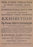 Leaflet advertising an exhibition of the Prosser Roberts Cinematograph