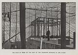 The maze of wires on the roof of the Telephone Exchange in Lime Street; photograph