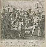 William Guest, condemned for high treason, drawn on a sledge to Tyburn