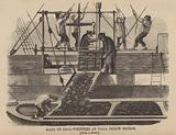 Gang of coal-whippers at work below bridge