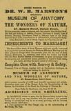 Advert for Dr WB Marston's Museum of Anatomy and the Wonders of Nature