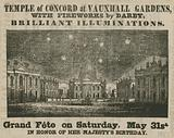 Advert for Grand Fete at the Temple of Concord, Vauxhall Gardens