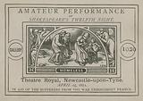 Advert for an amateur performance of Shakespeare's Twelfth Night