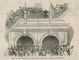 Sir Isambard Brunel retiring from the tunnel amidst the cheers of the company