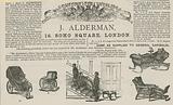 Advert for J Alderman, manufacturer of invalid carriages