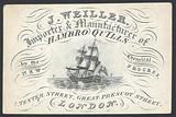 J Weiller, importer and manufacturer of Hambro Quills, 2 Tenter Street, trade card