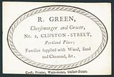 R Green, cheesemonger and grocer, trade card
