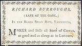 Trade card, Richard Burroughs