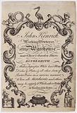 Pewterer, John Kenrick, trade card