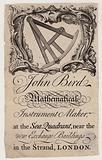 Scientific Instrument Maker, John Bird, trade card