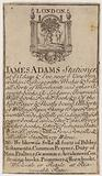 Stationers, James Adams, trade card