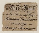 Booksellers, Abraham Vandenhoeck and George Richmond, trade card