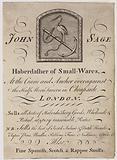 Haberdashers, John Sage, trade card