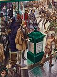 Posting a letter in Post Office Letter Box No 1 in London in 1855