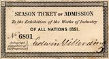 Season Ticket of Admission to the Great Exhibition of 1851