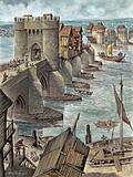 Reconstruction showing Old London Bridge a few years after it was built, looking north-west