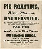 Advertisement for Pig Roasting on the River Thames