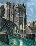 Imaginary reconstruction of the Chapel of St Thomas on old London Bridge