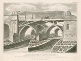 Part of Old London Bridge as it appeared in June 1826