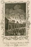 View of the temporary bridge of London on fire in the night of 11 April 1758