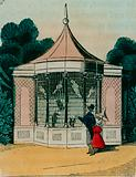 Aviary for parrots and cockatoos at the London zoo. 1840s