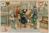 A Printer, Bookbinder, Painter, Goldsmith and Watchmaker Admire a Luxury Book They have Worked on Together